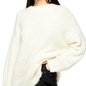 Topshop Ivory Boucle Longline Pullover Sweater